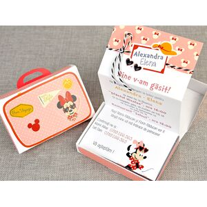 Invitatie botez Minnie in calatorie cod 15701