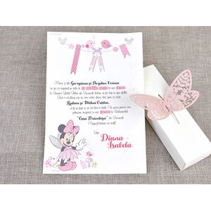 Invitatie botez Minnie fluturas cod 15708