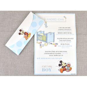 Invitatie botez Mickey, tip evantai cod 15719