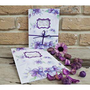 Invitatie nunta cu flori mov cod 2743