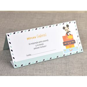 Card de masa/plic de bani botez 'Micky Travel' cod 5700