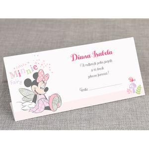 Card de masa/plic de bani botez 'Minnie fluturas' cod 5708