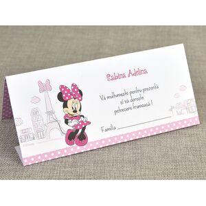 Card de masa/plic de bani botez 'Minnie la Paris' cod 5728
