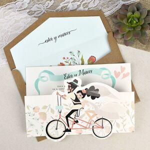 """Invitatie de nunta """"pe bicicleta"""" cod 39629"""