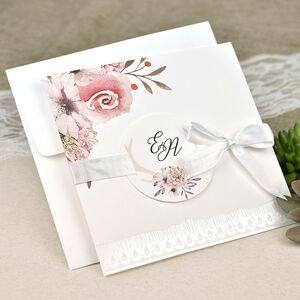 Invitatie nunta cu elemente florale cod 39632
