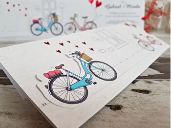 Invitatie nunta cu bicicleta cod 2786