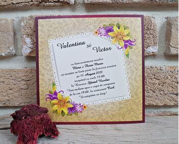 Invitatie nunta cu tematica florala cod 2774